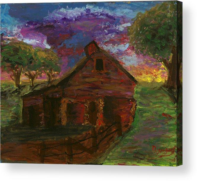 Barn Acrylic Print featuring the painting Sunset On The Farm by Davis Elliott