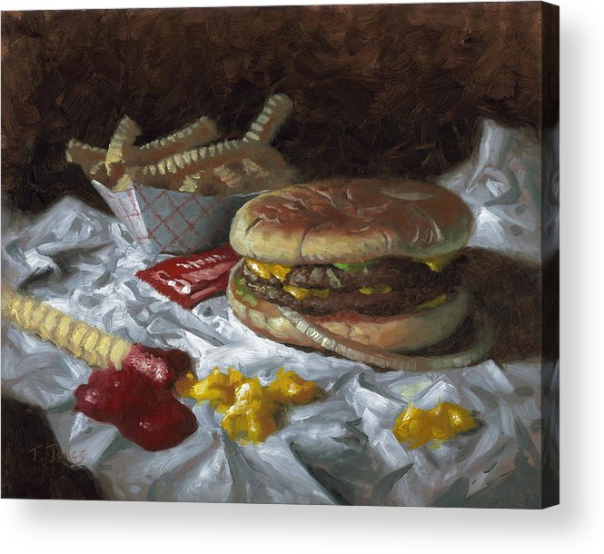 Hamburger Acrylic Print featuring the painting Suzy-q Double Cheeseburger by Timothy Jones
