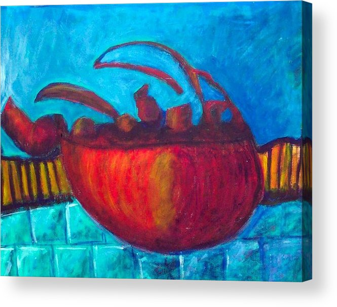 Teapot Acrylic Print featuring the painting Teapot by Rebecca Merola