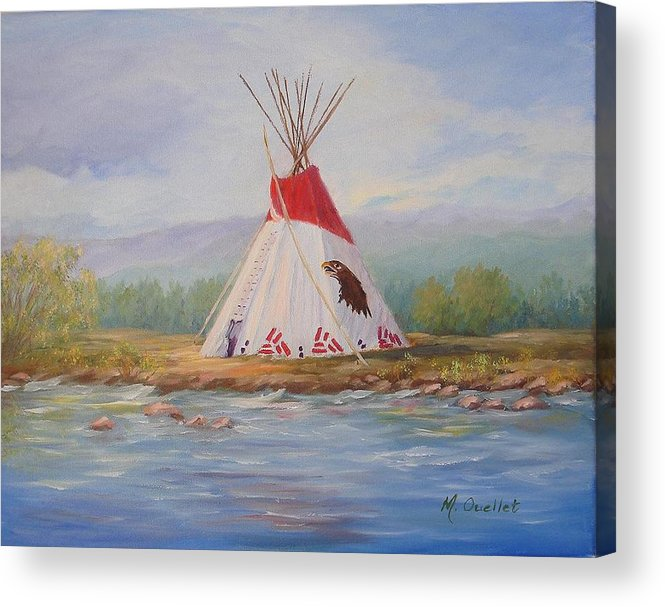 Landscape Acrylic Print featuring the painting Tee Pee by Maxine Ouellet