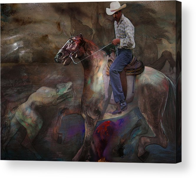 Horse Acrylic Print featuring the digital art The Attack by Henriette Tuer lund
