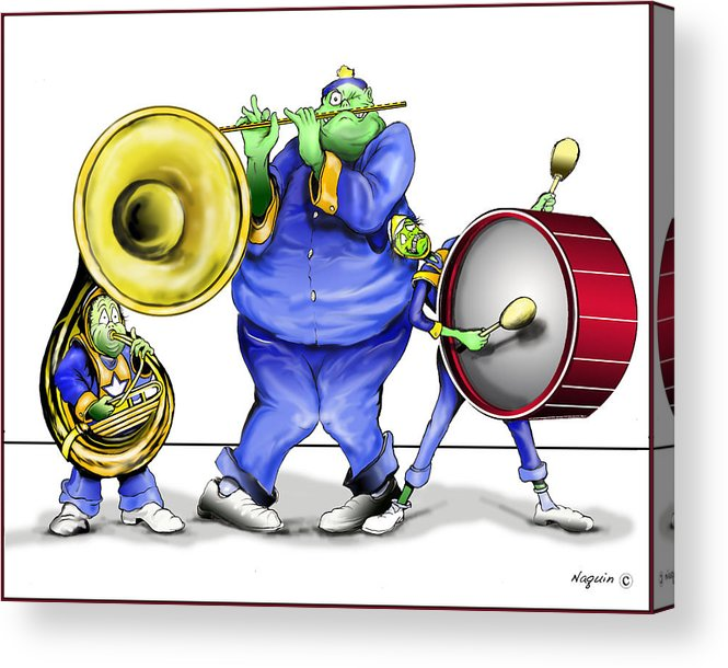 Cartoon Band Acrylic Print featuring the drawing The Band Plays On by Keith Naquin