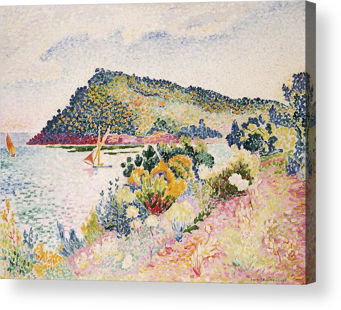 The Black Cape Acrylic Print featuring the painting The Black Cape Pramousquier Bay by Henri-Edmond Cross