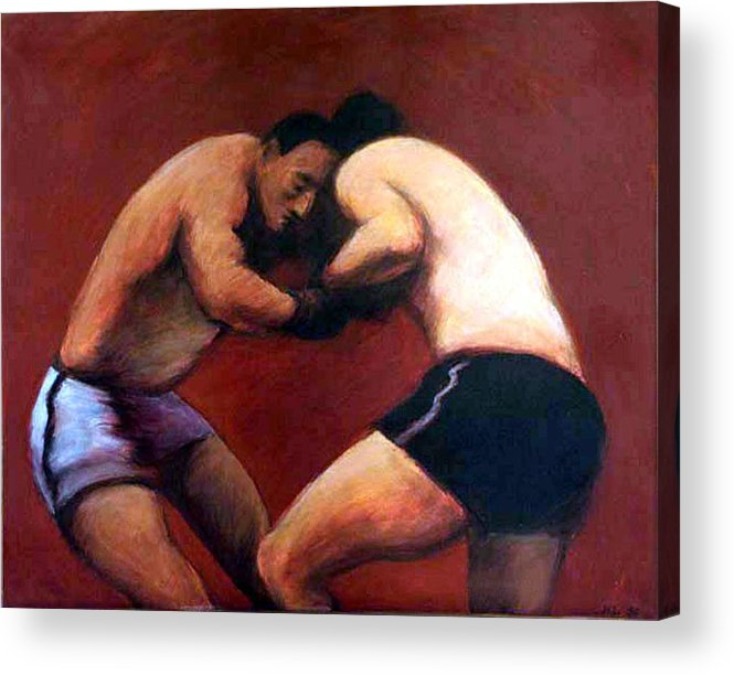 Boxers Acrylic Print featuring the painting The Boxers by James LeGros