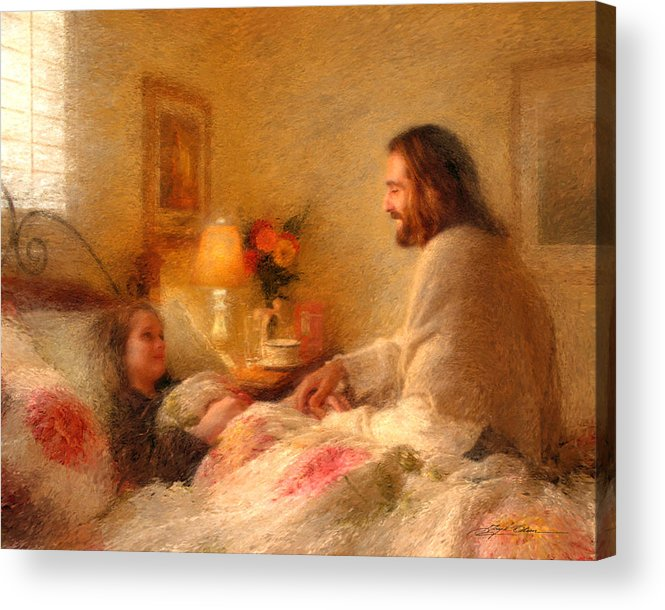 Jesus Acrylic Print featuring the painting The Comforter by Greg Olsen