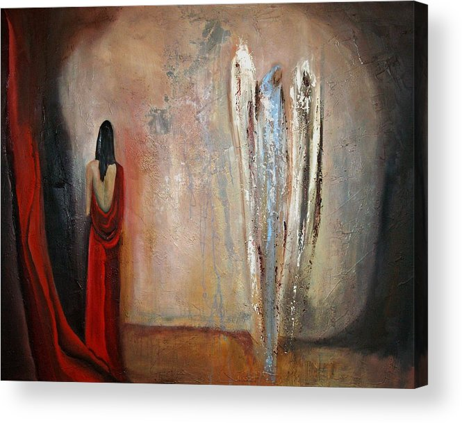 Angels Acrylic Print featuring the painting The Devine Messenger by Niki Sands