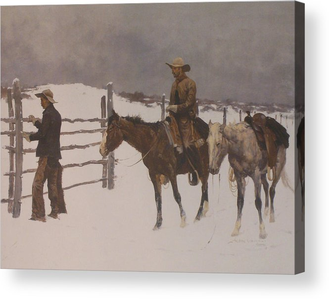 Frederic Remington Acrylic Print featuring the digital art The Fall Of The Cowboy by Frederic Remington