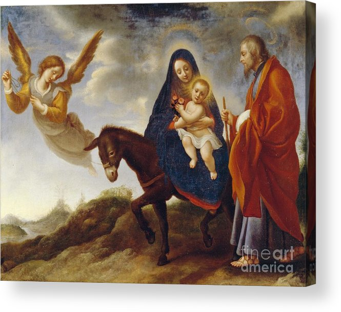 Flight Acrylic Print featuring the painting The Flight Into Egypt by Carlo Dolci
