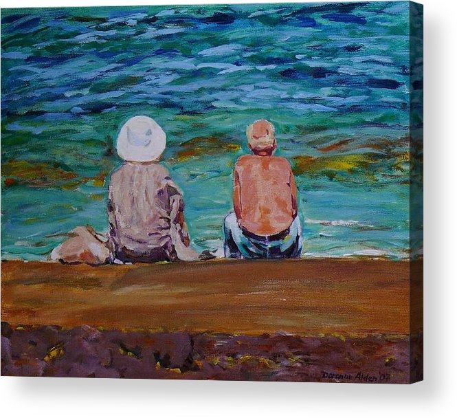 People Acrylic Print featuring the painting The Golden Years by Doranne Alden