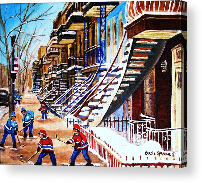 Hockey Acrylic Print featuring the painting The Gray Staircase by Carole Spandau