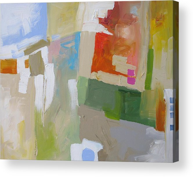 Abstract Acrylic Print featuring the painting The Green Flash by Linda Monfort