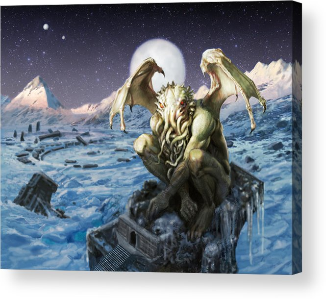 Cthulhu Mythos Acrylic Print featuring the painting The Lurker From The Darkness by Armand Cabrera