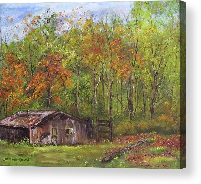 Oil Acrylic Print featuring the painting The Old Chicken Coop by Aurelia Nieves-Callwood
