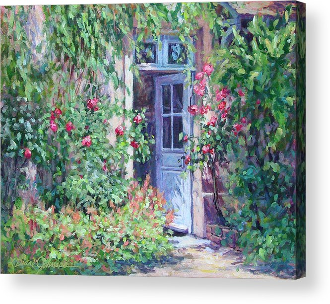 Giverny France Acrylic Print featuring the painting The Pink House by L Diane Johnson