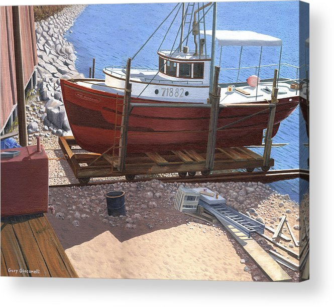 Fishing Boat Acrylic Print featuring the painting The Red Troller by Gary Giacomelli