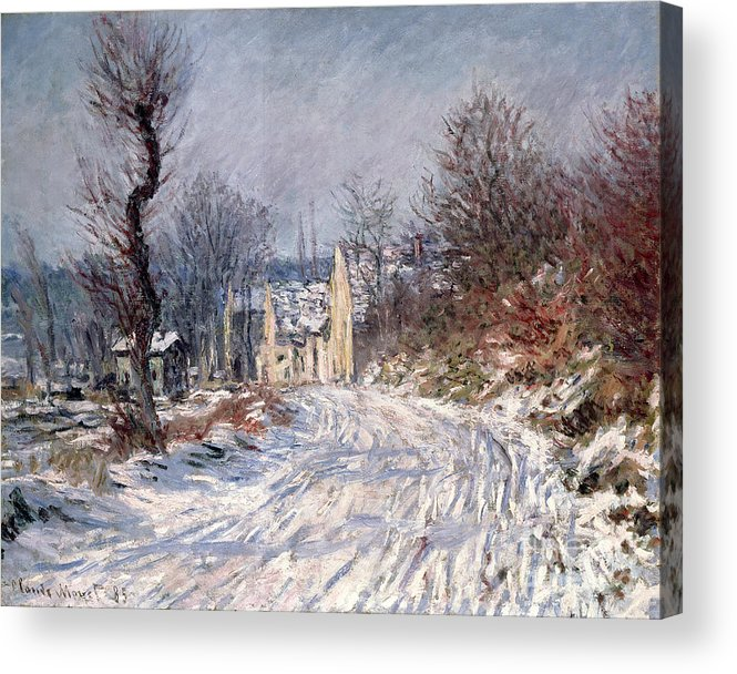 The Acrylic Print featuring the painting The Road To Giverny In Winter by Claude Monet