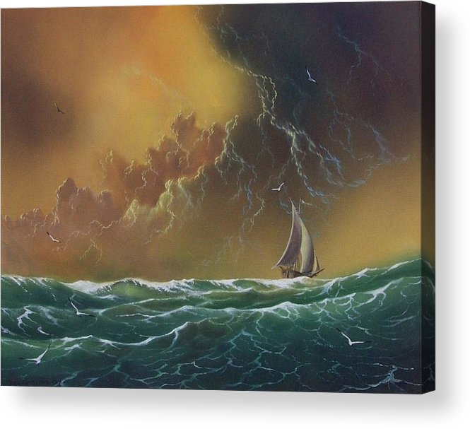 Seascape Acrylic Print featuring the painting The Storm by Don Griffiths