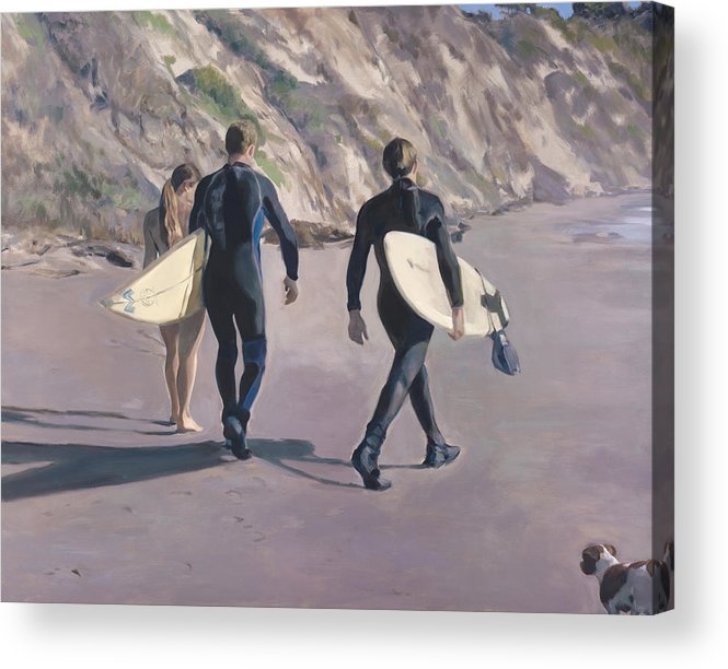Surfers Acrylic Print featuring the painting The Surfers by Merle Keller