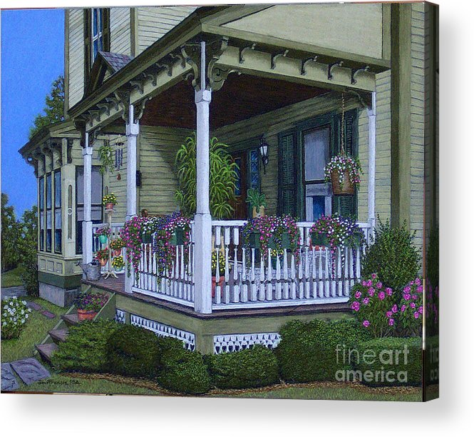 Landscape Acrylic Print featuring the painting The Victorian Porch by David Francis