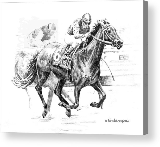 Thoroughbred Acrylic Print featuring the drawing Thoroughbred Best Pal by Arline Wagner