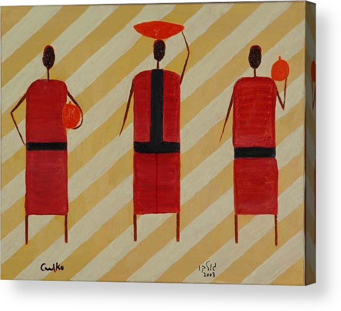 Figures Acrylic Print featuring the painting Three Carrier Ladies by Harris Gulko