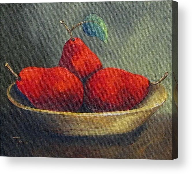Pear Acrylic Print featuring the painting Three Red Pears by Torrie Smiley