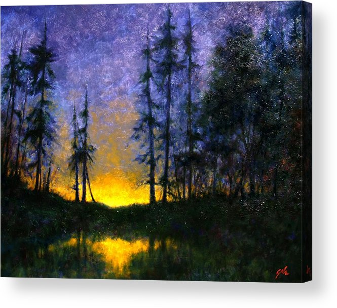 Landscape. Nocturn Acrylic Print featuring the painting Timberline by Jim Gola