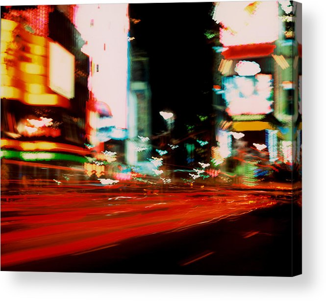 Light Acrylic Print featuring the photograph Times Square Painted by Brad Rickerby