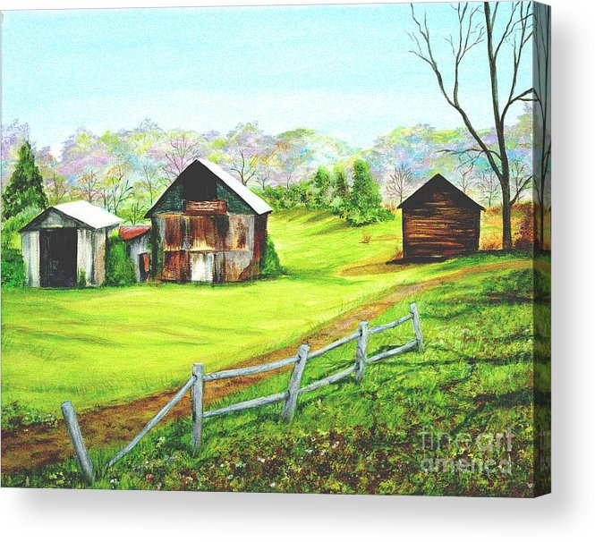 Landscape Acrylic Print featuring the painting Tobacco Barns North Carolina by Pauline Ross