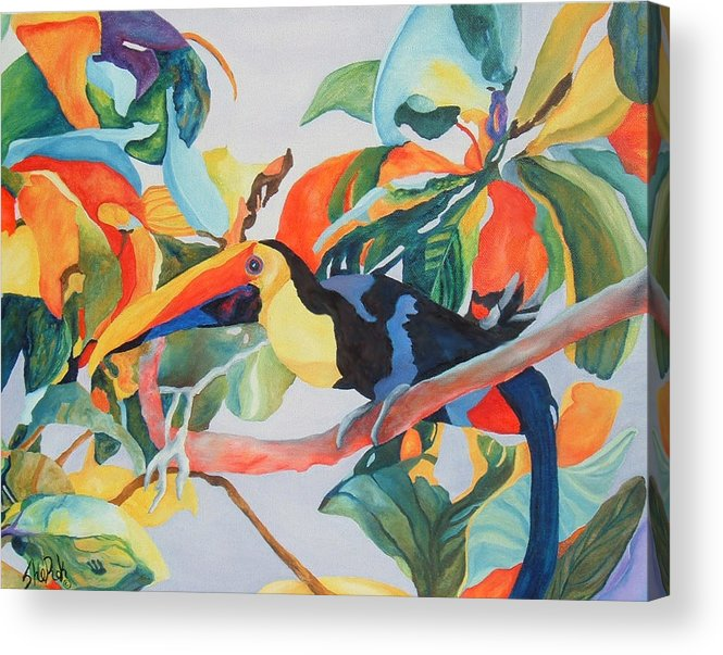 Bird Acrylic Print featuring the painting Toucan by SheRok Williams