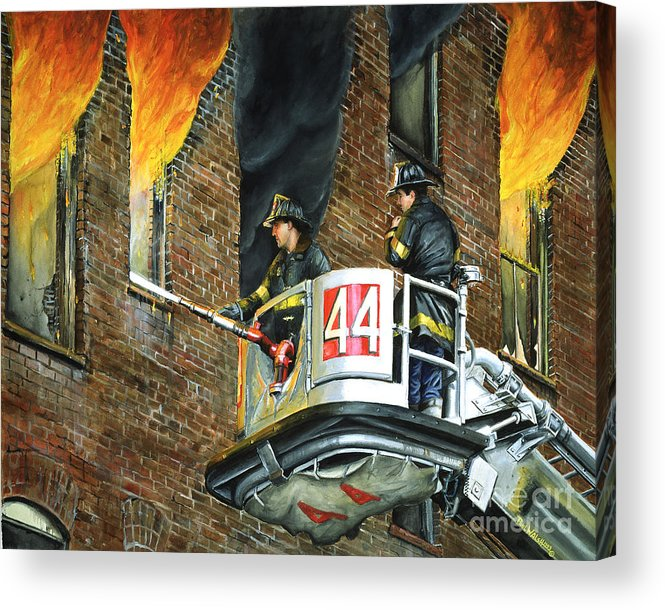 Fdny Acrylic Print featuring the painting Tower Ladder 44-south Bronx by Paul Walsh