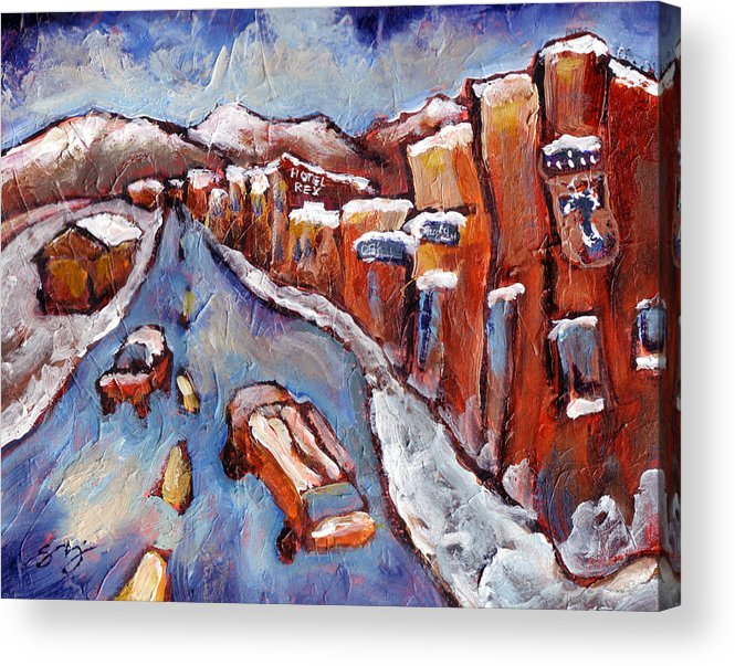 Truckee Acrylic Print featuring the painting Truckee First Snow by Sara Zimmerman