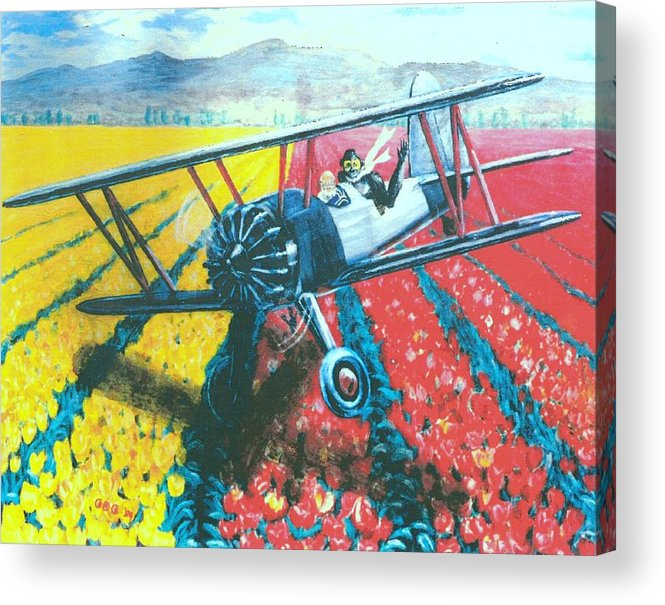 Biplanes Acrylic Print featuring the painting Tulip Fly-by by George I Perez