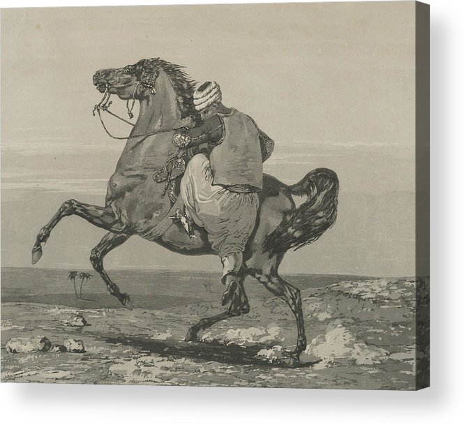 19th Century Art Acrylic Print featuring the relief Turk Mounting His Horse by Eugene Delacroix