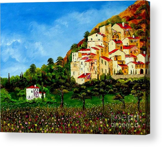 Landscape Acrylic Print featuring the painting Tuscany Spring by Inna Montano