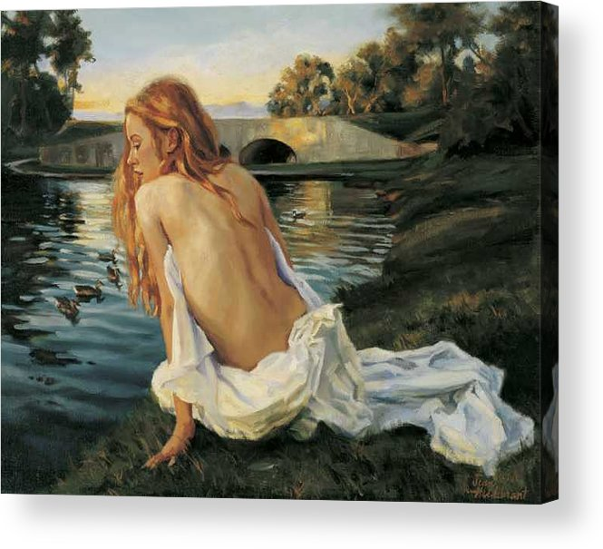 Young Acrylic Print featuring the painting Twilight Reflection by Jean Hildebrant