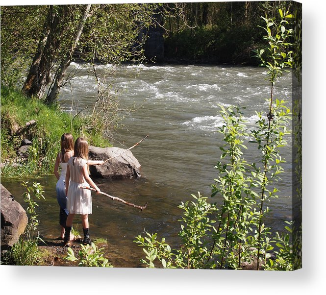 Girls By The River Acrylic Print featuring the photograph Two Little Girls Playing By The River by Nancy Clendaniel