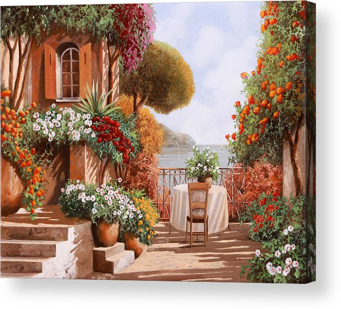 Terrace Acrylic Print featuring the painting Una Sedia In Attesa by Guido Borelli