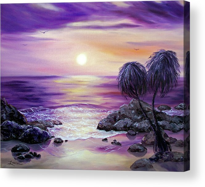 Impressionist Acrylic Print featuring the painting Unawatuna Beach At Sunset by Laura Iverson