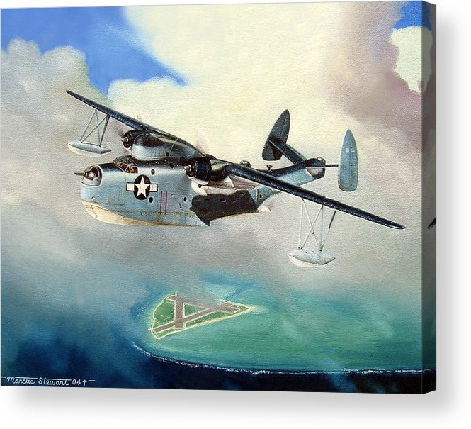 Military Acrylic Print featuring the painting Uncle Bubba's Flying Boat by Marc Stewart
