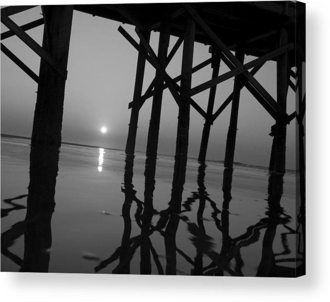Art Acrylic Print featuring the photograph Under The Boardwalk Bw1 by Tom Rickborn