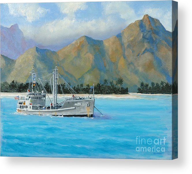 Seascape Acrylic Print featuring the painting Uss Reluctant Anchored Off Ennui by Glenn Secrest
