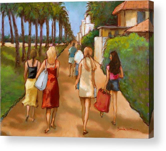 Girls Acrylic Print featuring the painting Venice Beach Promenade by Brenda Williams
