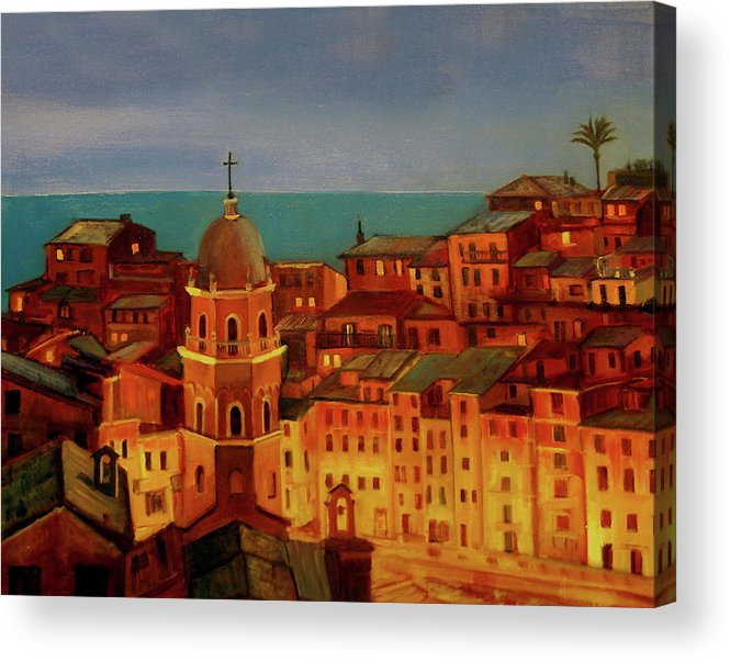 Landscape Acrylic Print featuring the painting Vernazza Twilight by Norah Brown