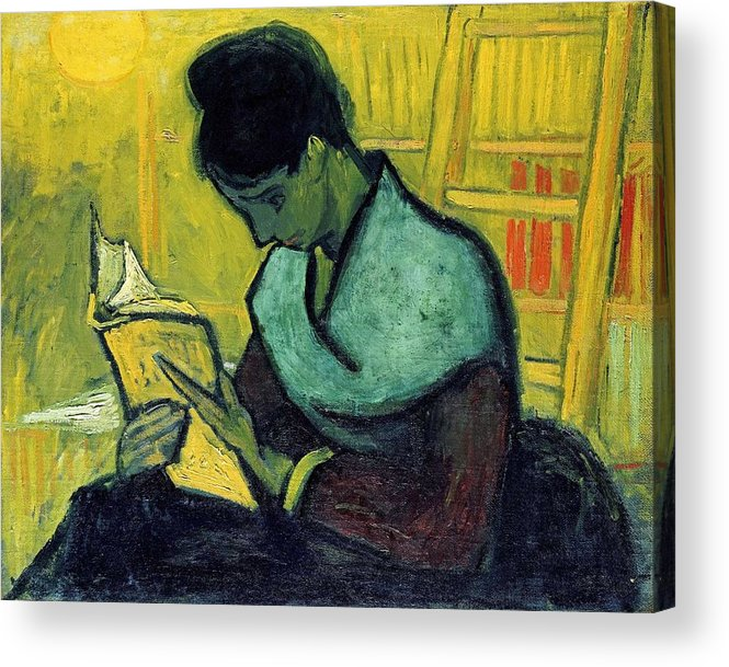 Beautiful Acrylic Print featuring the painting Vincent Van Gogh A Novel Reader by Artistic Panda