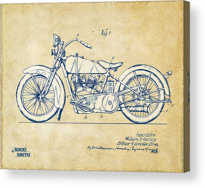 Harley-davidson Acrylic Print featuring the digital art Vintage Harley-davidson Motorcycle 1928 Patent Artwork by Nikki Smith