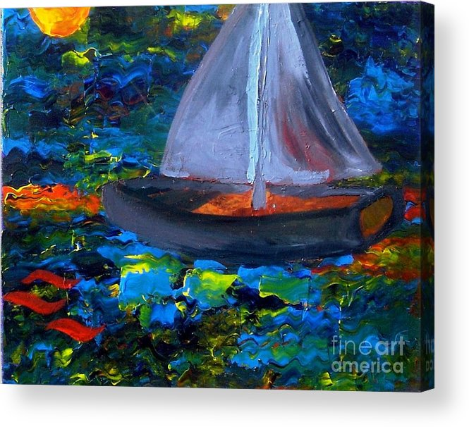 Serpent Acrylic Print featuring the painting Voyage With A Sea Serpent by Karen L Christophersen