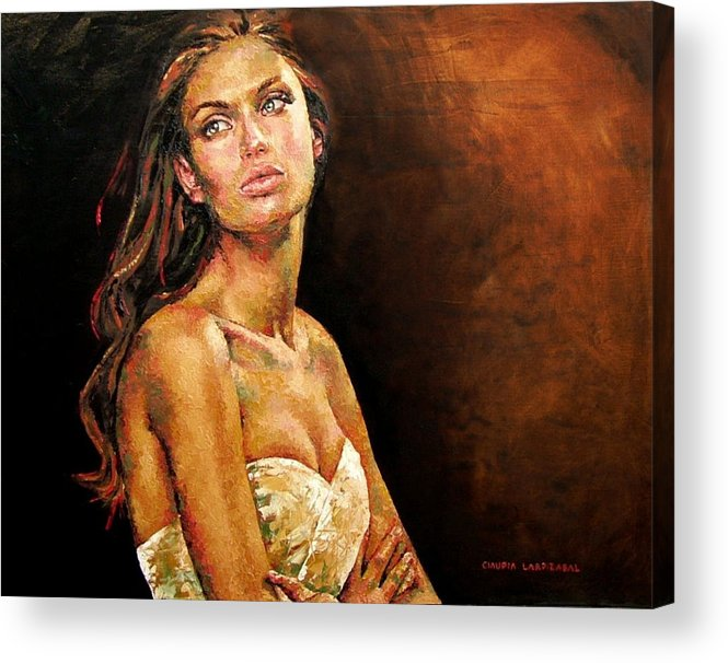 Eyes Acrylic Print featuring the painting Waiting by Claudia Lardizabal