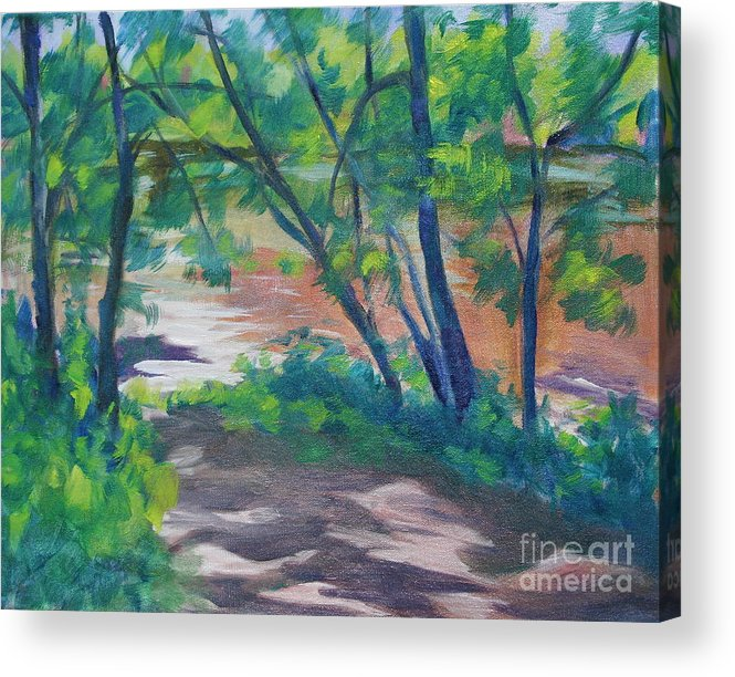 Landscape Acrylic Print featuring the painting Watercress Beach On The Current River  by Jan Bennicoff