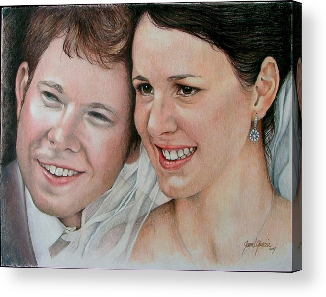 Portraits Acrylic Print featuring the painting Wedding Portrait by Joan Garcia